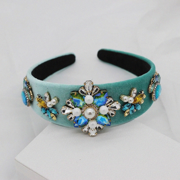 best selling Street beat gorgeous wild exaggerated headband New Baroque fashion colored rhinestones pearl flower catwalk headband 521 4JtS#