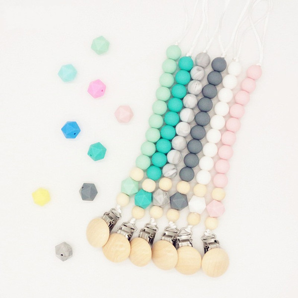 best selling Ins Appease Silicone Baby Pacifier Clip Chewable Anti Dropping Chain Holder Clips Nipple Teether Molar Toys Security 8 5as D2