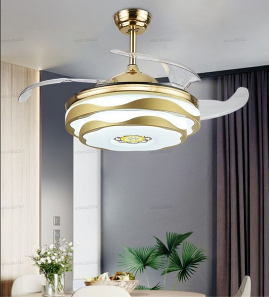 "top popular Modern Ceiling Fan Music LED Light With Remote Control Mobile Phone APP Bluetooth Ceiling Fans 42"" Invisible Bedroom Decor Lamp LLFA 2021"