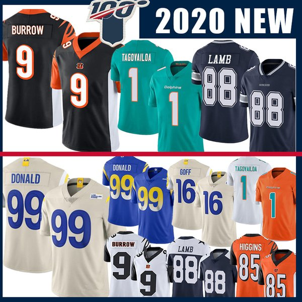 top popular 9 Joe Burrow Cincinnati Jersey Bengals Miami 1 Tua Tagovailoa Dolphins Dalla CeeDee Lamb Cowboys Los Jared Goff Angeles 99 Aaron Donald Ram 2020
