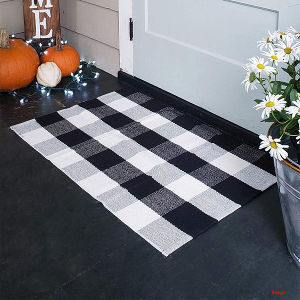 best selling Plaid Cotton Carpets Rugs Tartan Buffalo Checkered Layered Door Mats Outdoor Throw Rug for Front Porch Entry Way Kitchen Bathroom BH3254 DBC