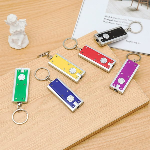 top popular Promotional gifts Square Mini LED Light Keychain Plastic Tetris Flashlight Key Buckle Creative Universal Keys Ring Hot Sale 2020