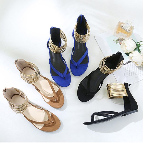 top popular Women's Sandals Flat Bottom Clip Toe Black Blue Brown Rubber Sole Wrap Heel Viscose Shoes Summer Shallow Mouth Fashion Simple 2020