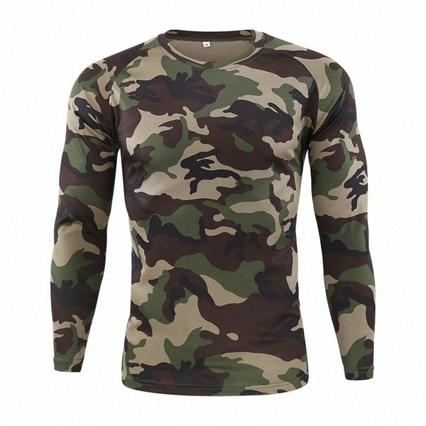 top popular New Autumn Spring Men Long Sleeve Tactical Camouflage T-shirt camisa masculina Quick Dry Army shirt dMGg# 2021
