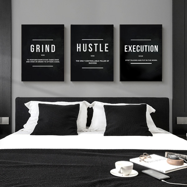 top popular Grind Hustle Execution Motivational Quote Posters and Prints on Canvas Painting Wall Art Pictures for Living Room Office Decor 2021