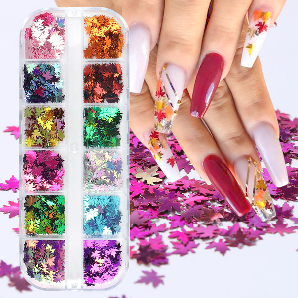 best selling 12 Grids Set Nail Sparkly Flakes Fall Maple Leaves Glitter Sequins for Nail Art Decorations Decals Polish Accessories