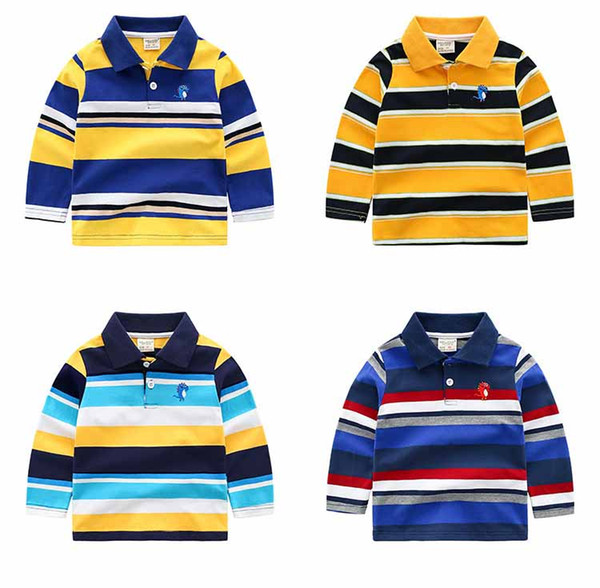 top popular Boys Designer Long Sleeved Tshirts Fashion 2020 New Arrival Striped Polo Shirts Kids Designer Clothes Boys Pullever Classic Tops 2021