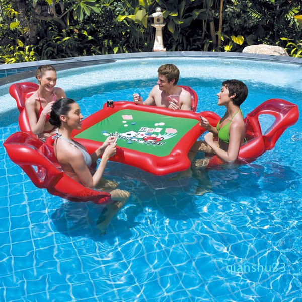 top popular Wholesale-Waterpark Inflatable Mahjong Poker Table Set Floating Row Inflatable Chair Float Fun Pool Toy Outdoor Toys Adults High Quality #T1 2021