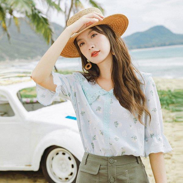 Camicetta economica Inman Estate vacanze Sweet Art Style Bambola stile Collo Flower Print Shivering Cute Blusa