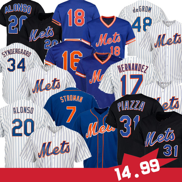 best selling STROMAN 20 Pete Alonso 48 Jacob deGrom Piazza 17 Keith Hernandez 18 Darryl Strawberry 52 Yoenis Cespedes Baseball Jerseys