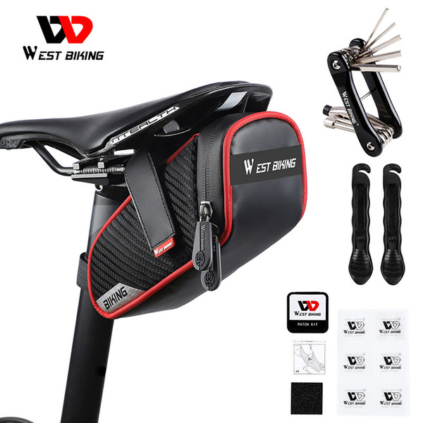 top popular WEST BIKING Cycling Saddle Bag Reflective Rainproof Bike Accessories MTB Bicycle Tools Set Pannier Tube Rear Tail Seatpost Bag MX200717 2021
