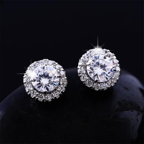 best selling 2018New Arrival Best Friends 18K White Gold Plated Earings Big Diamond Earrings for Women White Zircon Earrings
