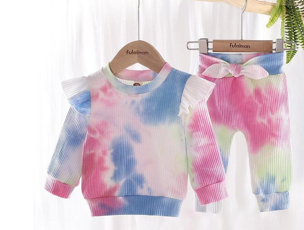top popular Baby tie-dyed Clothing Sets Girls Long Sleeve Tops + Bow Trousers 2pcs sets 2020 New Autumn Fashion Boutique Kids Outfits 2021