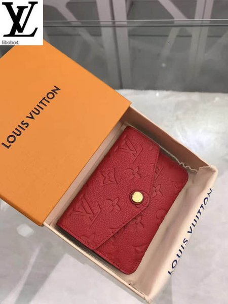 best selling Libobo4 Empreinte Cherry Red Pebbled Embossed Leather Key Case M60634 Long Wallet Chain Wallets Compact Purse
