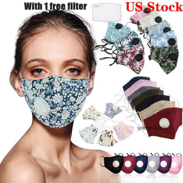 best selling US Stock!Cotton Cycling face mask Printed Designer masks with breathing valves are dustproof comfortable and breathable Cycling Caps FY9140
