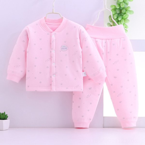 pink Crown cotton-padded clothes two-pie