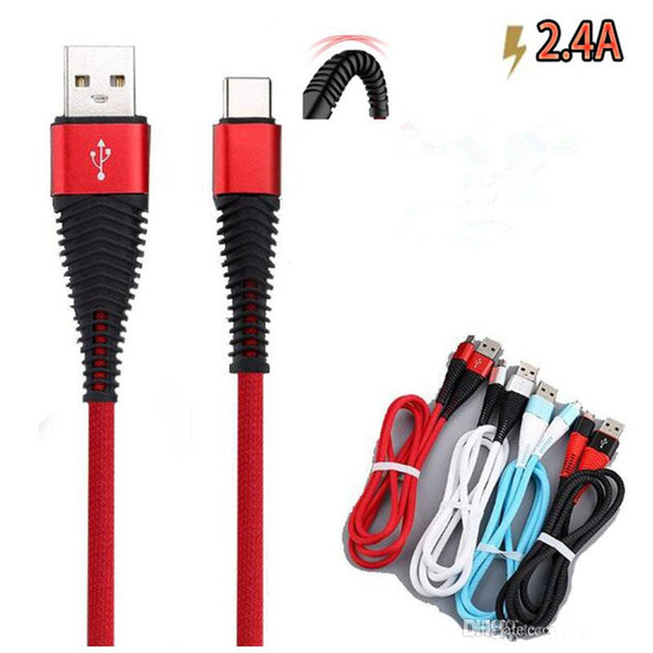 top popular 1m 3ft New Durable Hi-Resistance Braided Nylon USB Type-C Cable 2.4A Fast Charging Micro USB Cable Data Sync USB Charger Cable For Phone S9 2021