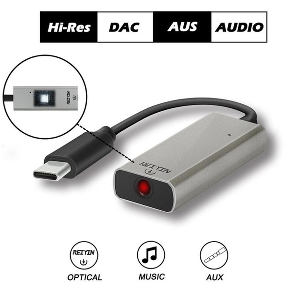 2021 usb optischer audioadapter Günstiger Digital-to-Analog-Wandler Reiyin DAC USB-C bis Toslink Optisches 3,5-mm-Headset 192kHz 24-Bit-Audioadapter-PC-Soundkarte
