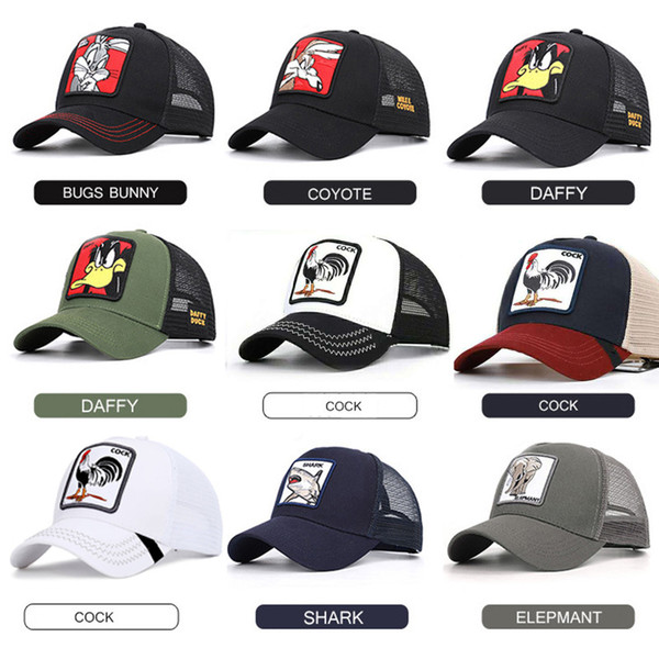 best selling Summer Mesh Baseball Caps Animal Duck Anime Cute Rabbit Embroidery for Women Men Outdoor Dad Truck Driver Hat Summer gorras