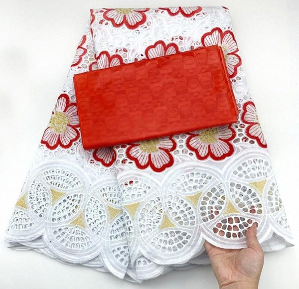 top popular swiss voile lace in switzerland african lace fabric white+red swiss fabric 2.5+2.5yards bazin riche for dress CC-B6 mWWk# 2021