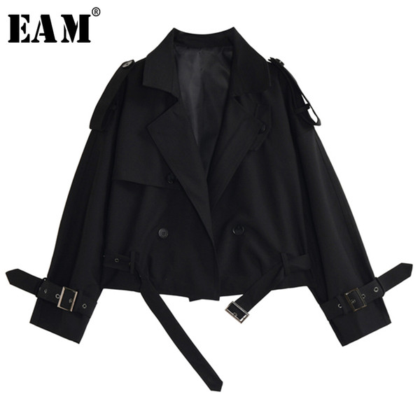eam] loose fit black brief stitch bandage short jacket new lapel long sleeve women coat fashion tide spring autumn 2020 1y397, Black;brown