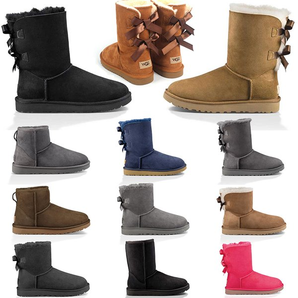 top popular 2020 Top Snow Boots Women Boots Short Mini Classic Knee Tall Winter Boots Designer Bailey Bow Ankle Bowtie Black Grey Shoes SIZE 36-41 2020