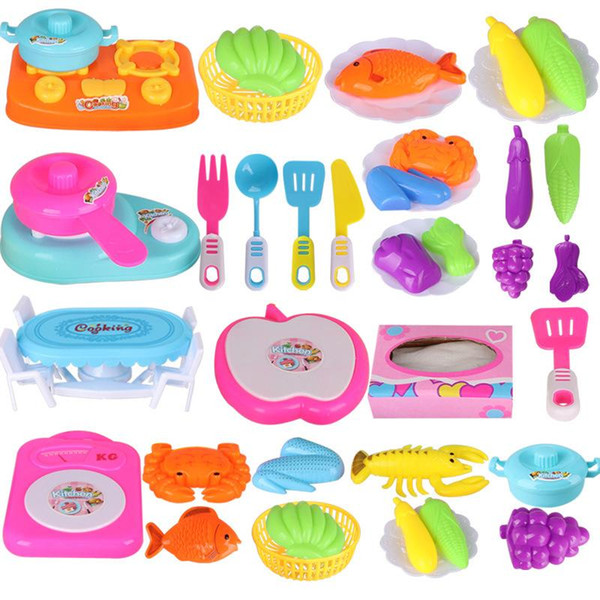 top popular hxltoystore 1 Set Kitchen Cooking Toys Children DIY Pretend Kitchen Cooking Food Cookware Role Play Educational Gifts Kids Toy for Children 2021