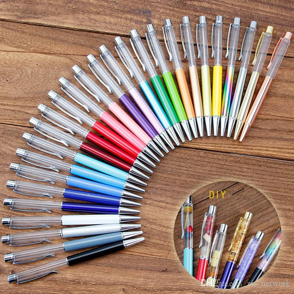 best selling Creative DIY Blank Ballpoint Pen Student Glitter writing pens Colorful Crystal Ball pens custom logo!