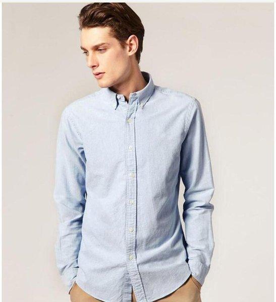 best selling Wholesale-2020 new Spring men dress shirt Oxford 7color designer men's casual-shirt camisas masculinas S-XXL