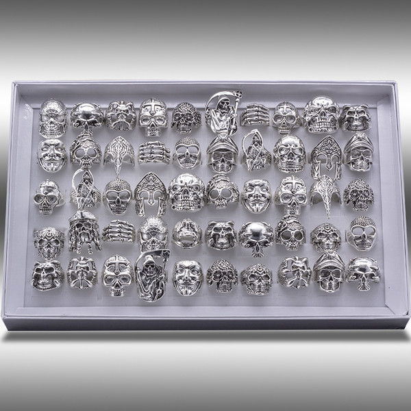 top popular Free Shipping Mixed 20pcs Top-quality Gothic Punk Assorted Wholesale Lots Skull Style Bikers Men's Vintage Tibetan Rings 2021