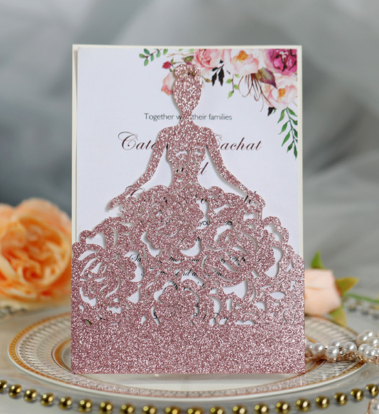 top popular Pink Gold Glitter Wedding Invitations Gold Red Champagne Laser Cut Editable Sweet Fifteen Invites Anniversary Party Invitation Cards 2021