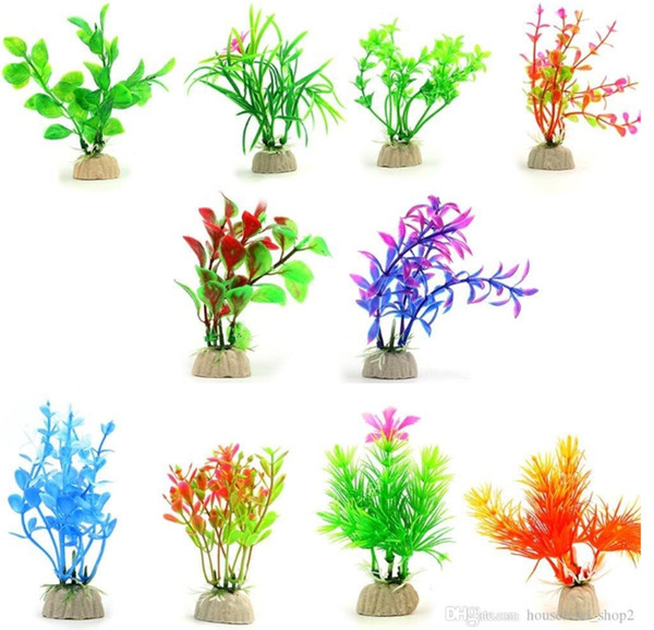 top popular Artificial Aquarium Plants Plastic Water Plant Fish home restaurant Tank Decorations various styles for free shipping A10 2021