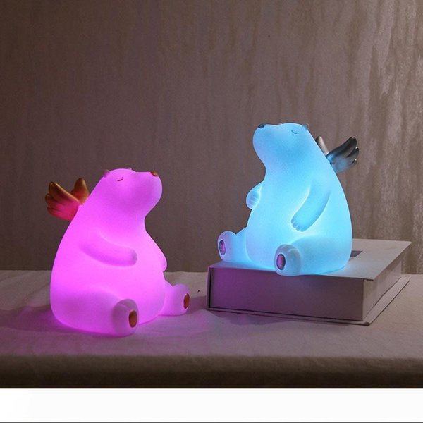 Bear Night Light Silicone Night Lamp Color Light Kids Cute Night Lamp Bedroom Boy Light Gift Toy Pressure Reducer 10097