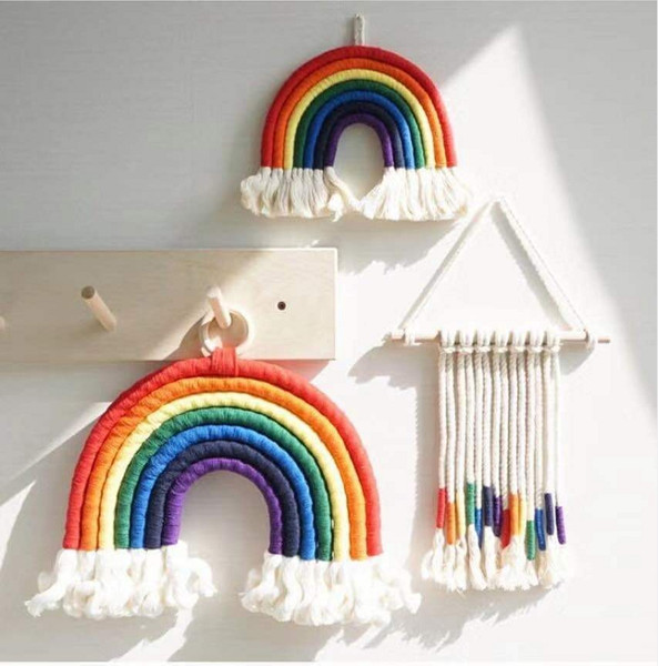 top popular 11 Colors INS Nordic Ornaments Home Baby Nursery Room Rainbow Decoration Pendant Hand Weaving Rainbow Hanging Wall Decor M2434 2021