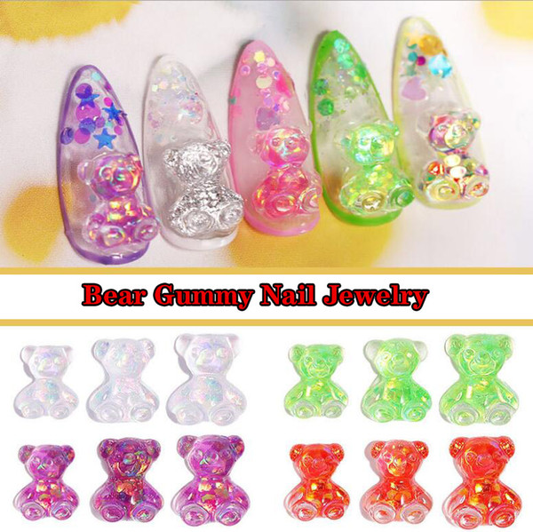 top popular Nail Art Salon Manicurist special DIY handmade Bear Jelly Stereo Aurora Crystal Gel Symphony Candy Bear Jewelry Nail Decoration Diamond 2021