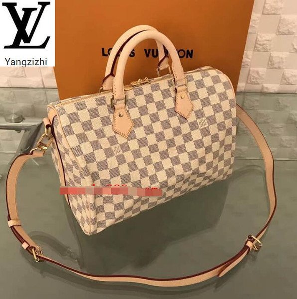 top popular Yangzizhi New N41373speedy Handbag Damier Azur Canvas White Pillow Bag Handbags Bags Top Handles Shoulder Bags Totes Evening Cross Body Bag 2020