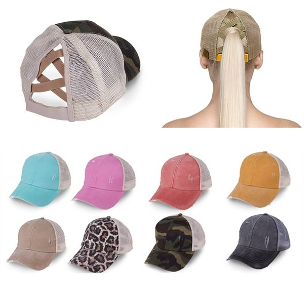 best selling New Baseball Cap Ponytail Washed Cotton distress Messy Bun Hats For Women Snapback Caps Casual Summer Sun Visor Outdoor Hat KY0731