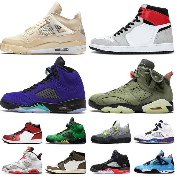 top popular 2020 trainers 4s Sail 4 Jumpman 1 1s Womens Mens basketball shoes 5 Alternate Purple Grape 5s Oregon Travis Scott 6 Hare sneakers 2021