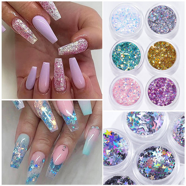 best selling 16 Colors Heart-shaped butterfly patch Nail Art Decoration Decals Glitter Flake Nail Sequins Manicure Nail Supplies Tool
