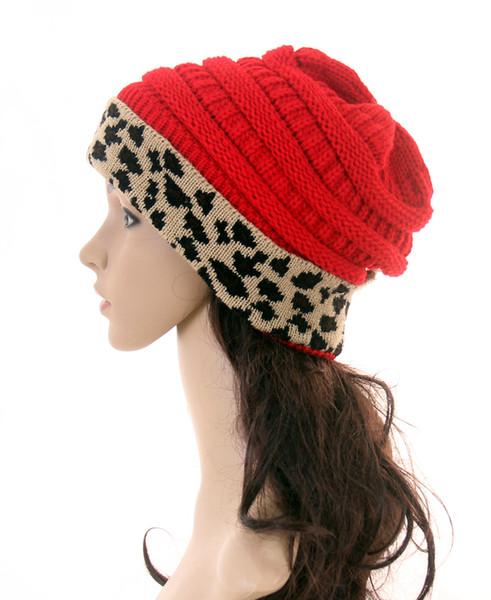 best selling 11color Leopard Knit Hats Women Winter Leopard Patchwork Knitted Beanies Hat Warm Skull Crochet Caps Unisex Woolen Cap GGA3604-2
