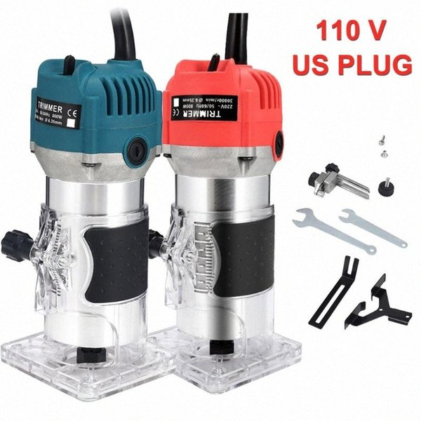 top popular 110V US PLUG 800W Woodworking Tools Electric Trimming Machine Engraving Wood Milling Machine 30000RPM Router Wood Trimmer 8Wx2# 2021