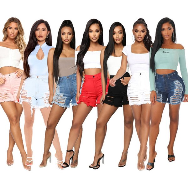 top popular Women Shorts Jeans Sexy Cut Hollow Button Denim Shorts Slimming Shorts Casual Straight Pants Designer Summer Fashion Washed Jeans 812 2021