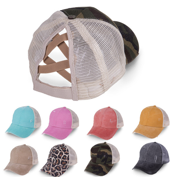top popular Women High Ponytail Baseball Washed Hat Cotton Adjustable Tucker Hat Criss Cross Messy Buns Caps DDA6 2021