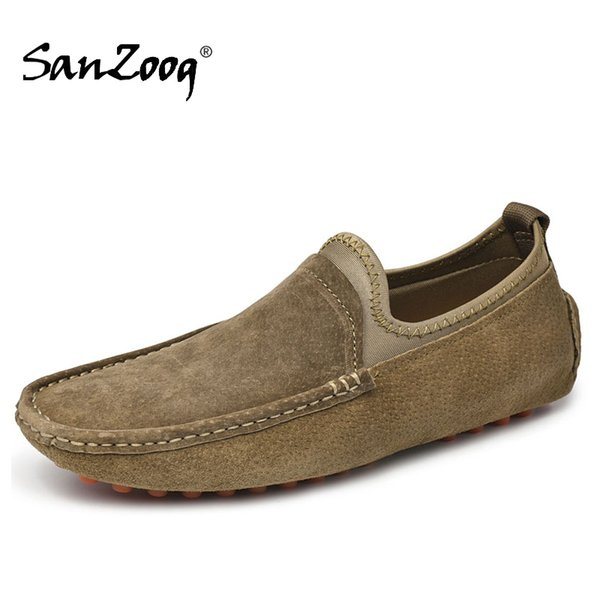 khaki men driving leather casual shoes slip-ons loafers mens handmade sewing skin loafer for comfortable shoe, Black