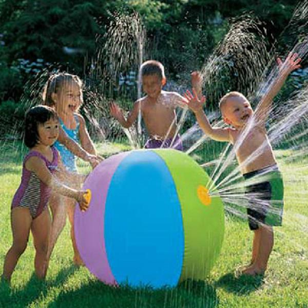 best selling 75CM Outdoor Summer Inflatable Water Spray Ball Toy Fun Water Polo Lawn Inflatable Sprinkler Ball Swimming Pool Play Water Summer Toy
