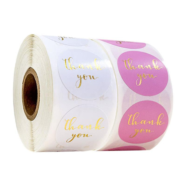 top popular 500pcs Gold Foil Thank You Sticker Scrapbooking for Envelope Seal Labels Stickers Pink White Pink Stationery Sticker 2021