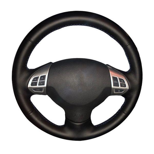 para Mitsubishi Pajero 2004 2005 2006 2007 2008 2009 2010 KSUVR Cubierta Negra del Volante del Coche Cosida a Mano de Bricolaje