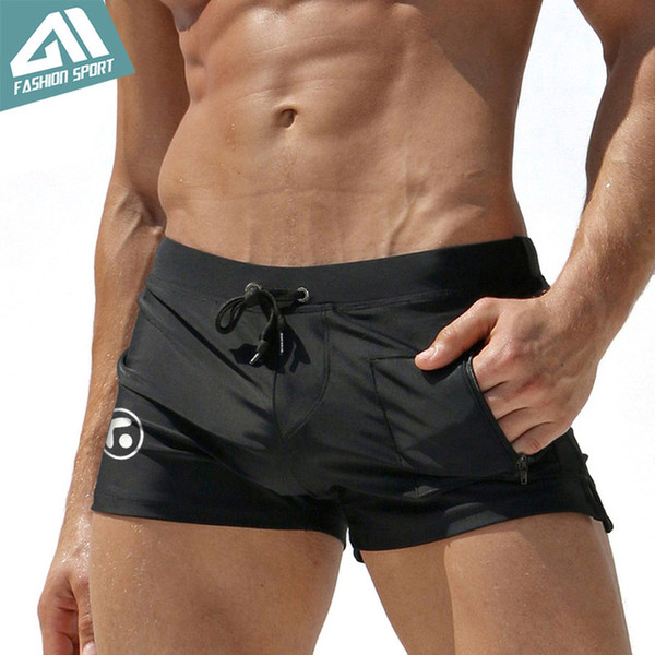Swim Briefs New 's Swimwear Summer Beach Men Swimming Shorts with Pocket Sexy Men Beachwear Swimsuit Surfing Swim Shorts AQ09