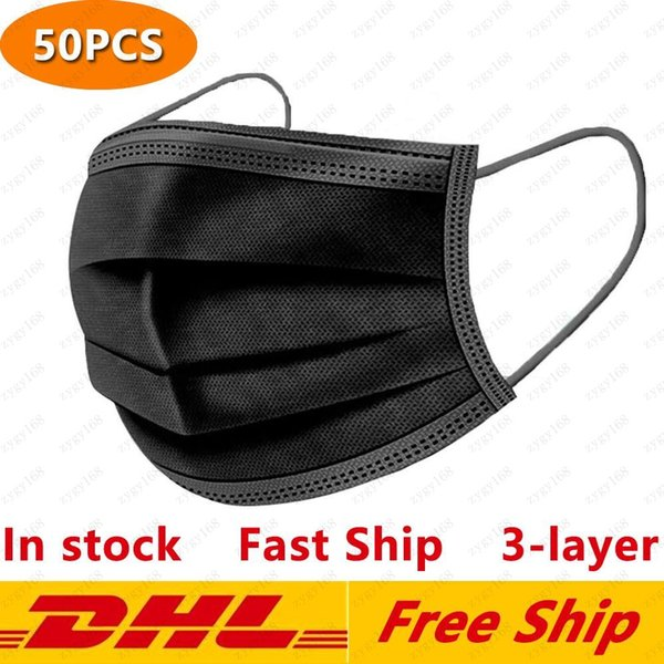 top popular Black Disposable Face Masks 3-Layer Protection Mask with Earloop Mouth Face Sanitary Outdoor Masks DHL Free Shipping 2021