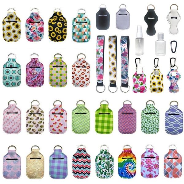 best selling Customize Neoprene Hand Sanitizer Bottle Holder Keychain Bag 30ML Printed Hand Soap Bottle Holder Key Ring Chapstick Holder With Baseball
